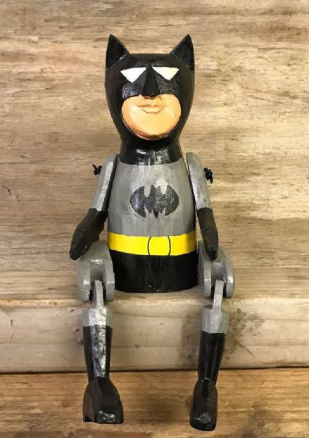 Batman Comic Book Hero Puppet Hand Carved Wooden Sitting Ornament 25 cm